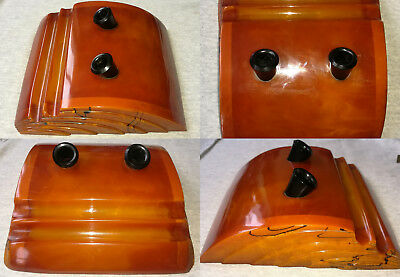 Vintage Art Deco Veined Yellow Amber Bakelite Catalin Desk Double Pen Holder