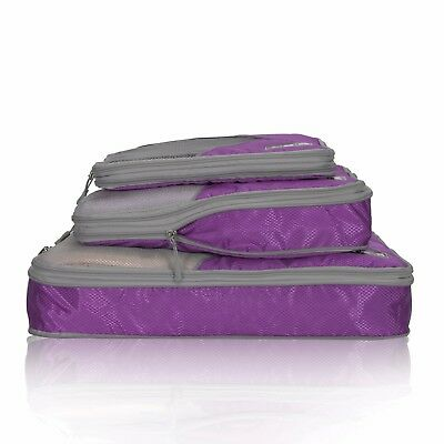 Travel Compression Packing Cubes Expandable Packing Organizer 3 Pieces - Purple