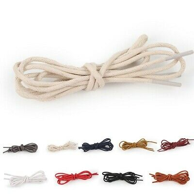 ROUND WAXED THIN COTTON SHOE LACES SHOELACES 70cm - 150cm long LOTS OF COLOURS!