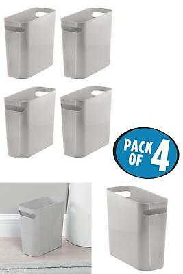 4Pk Trash Cans Waste Baskets Container Storage Bin Plastic For Bathroom Kitchen