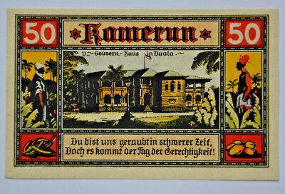 Deutsche Kolonien Notgeld 50 Pfennig Kamerun 1922 Germany Colony (5893)