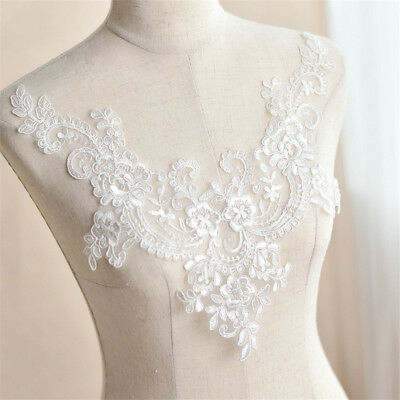 Floral Lace Applique Trim Neckline Wedding Bridal Embroidery Sewing Crafts DIY