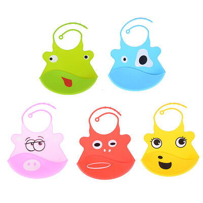 Cartoon Waterproof Silicone Bib Feeding Stereo Pick Rice Pocket Baby Aprons R