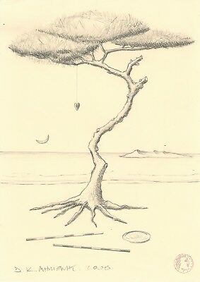 "Dimitris C. Milionis ""TREE WITH HEART TALISMAN"" Graphite Pencil Drawing 2008"