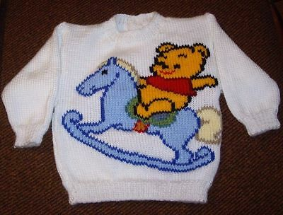 Pooh Bear. Rocking Horse.. Size 1.. New Hand Knitted Button Opening In Back