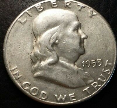 1953-s Franklin Half Dollar 90% Silver Circulated E-2