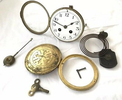 Antique French Brass 8 Day Mantle Clock Movement