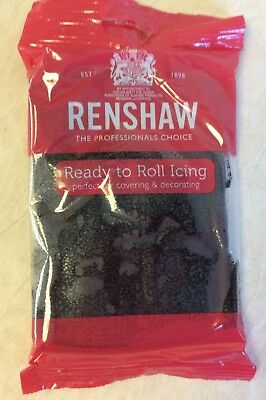 250g JET BLACK Renshaw Regalice / Decorice - roll out sugarpaste / icing