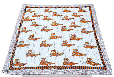 Indian Hand Block Tiger Print Baby Quilt Coverlet Bed Cover Bedding Blanket
