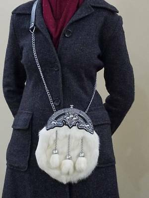New Scottish Rabbit Fur Sporran With 3 Tassels & Belt & Chain 100% Leather