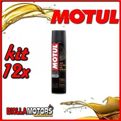 Kit 12X 400Ml A2 Motul Air Filter Spray Olio Lubrificante Per Manutenzione Filtr