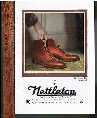 Nettleton Color PRINT AD - 1923 ~ Gentlemen's Exclusive Fine Shoes Syracuse NY