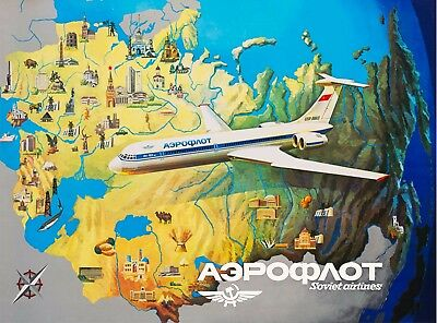Flying over Moscow Soviet Airlines Russia USSR Vintage Travel Art Poster Print