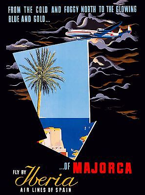 Espana Iberia Spain Spanish Majorca Europe Vintage Travel Advertisement Poster