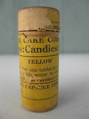 Antique Wood Vial Grape Capsule Company Yellow Coloring for Cakes Candies Liquid