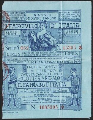 Italy National lottery for Children 1925