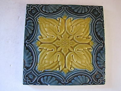 Antique Victorian Mintons Majolica Glazed Blue & Golden Yellow Tile C.1885