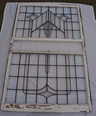 Huge art deco leaded light stained glass window pair. R574. INSURANCE INCLUDED