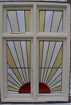 Huge art deco sunray leaded light stained glass window R596. INSURANCE INCLUDED!
