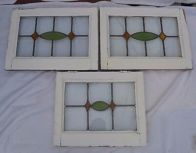 3 art deco leaded light stained glass windows. R506b. MULTIPLE DELIVERY OPTIONS!