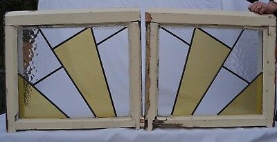 2 art deco leaded light stained glass windows. R638d. WORLDWIDE DELIVERY!!!