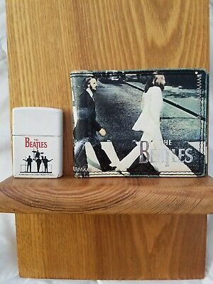The Beatles Collectable Zippo Lighter Black band on a white background & Wallet