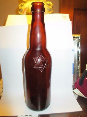"1892-1905 ""I. Leisy Brewing Company Cleveland 13 oz. amber Blown  beer bottle"