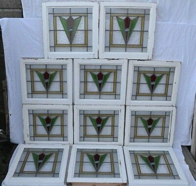 11 art deco leaded light stained glass window panels. R695. WORLDWIDE DELIVERY!