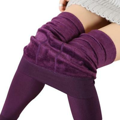 Women Winter Thick Warm Fleece Lined Thermal Stretchy Leggings Pants Purple  W1