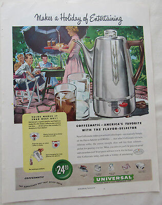 1949 America's Favorite Coffeematic Universal New Britain Conn. Print Ad