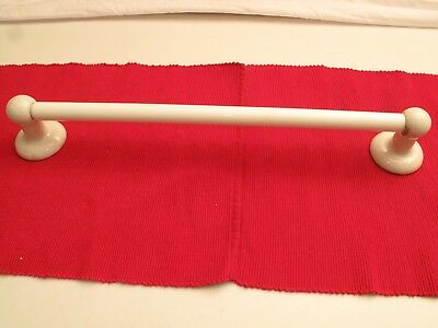 Antique Vtg White Milk Glass Towel Rod Rack Bar W/  Porcelain Ceramic Brackets