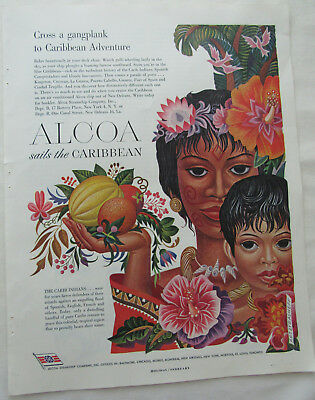 1949 Alcoa Sails The Caribbean Carib Indians Cruise Artzybasheff Art Ad