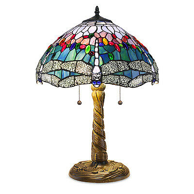 """Tiffany Style Handcrafted Stained Glass Blue Dragonfly Table Lamp 16"""" Shade"""