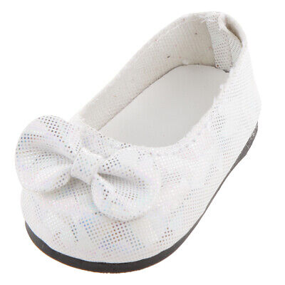 "New White Bowknot Glitter Bow Shoes made for 18"" American Girl Doll Clothes"