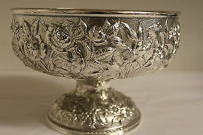 REPOUSSE SILVER BOWL S. KIRK & SON CENTERPIECE 11OZ  SILVER c1880s .9166 PURITY