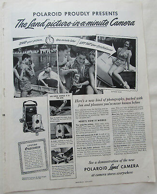 Vintage 1949 Introducing Polaroid Land Camera Picture In A Minute Print Ad