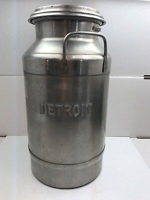 VTG. Stainless Steel Milk Can Farm Dairy W/Lid Risdon (DETROIT) Useable or decor