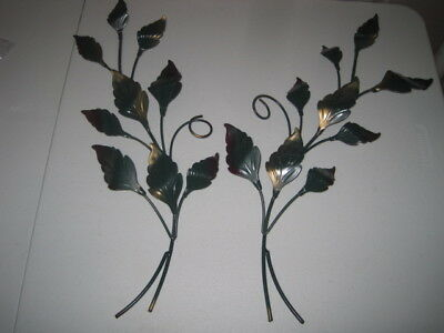 HOME INTERIORS Set 2 Green & Gold LEAF Leaves WALL HANGING Swags PLAQUES