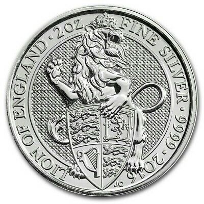 2016 Queens Beasts 2 oz Lion of England Silver Bullion Coin