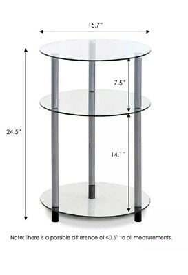 Kaca Glass 3-Tier Side Table, Clear. •