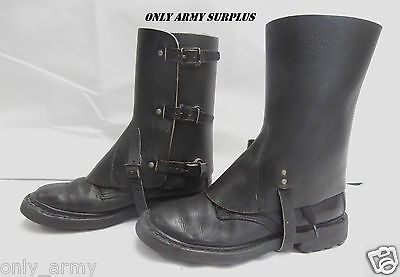 Swiss Army Leather Gaiters Black Original Surplus RARE Steampunk Vintage