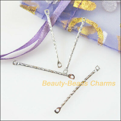 40Pcs Dull Silver Plated 1-1 Long Charms Pendants Connectors 30mm