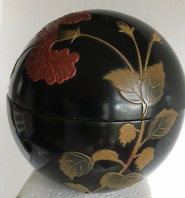 Vintage Signed Bembo Okinawa Wood Lacquer Handpainted BOX.. Round Bowl w/ Lid