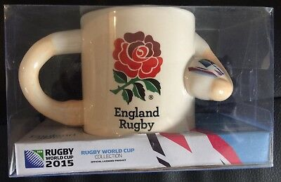 RARE 2015 Rugby England World Cup Player Ceramic Mug Brand New In Box- Ball Rose