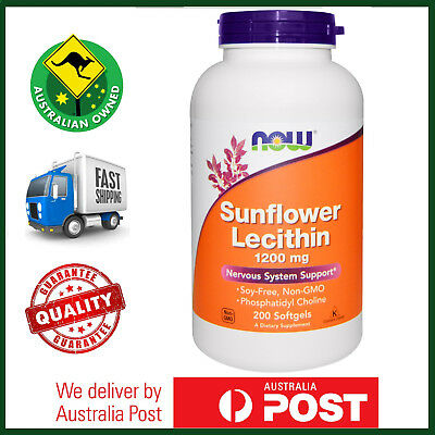 Sunflower Lecithin, 1200 mg, 200 Softgels by NOW Foods - Non-GMO - Long Expiry