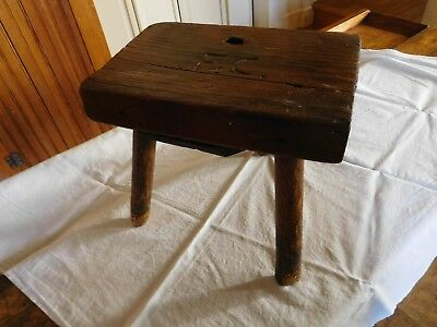 """1-2018-Hand Made Wooden 3 Legged Stool With Initials """"fc"""" Carved On Top-Lqqqkie"""