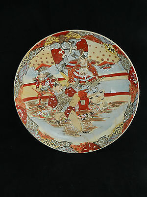 Large antique Meiji Japanese Satsuma hand painted pottery plate / charger