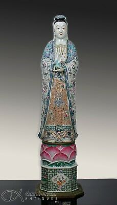 Important + Monumental Antique Chinese Famille Rose Statue Figurine Guanyin