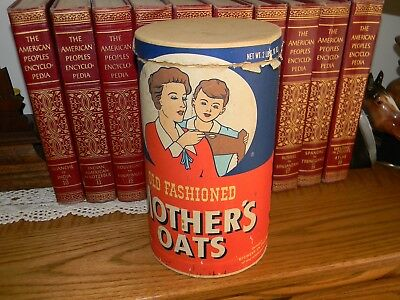 Quaker Oats Oatmeal Mother's Oats Container Vintage Plus Lid Nice