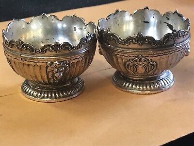 Victorian Embossed Lion Head Silverplate Carheel And Co. open salt set of (2)